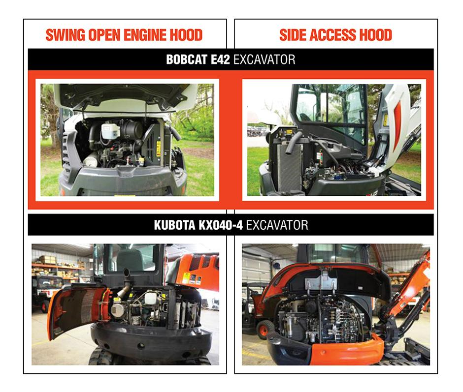 Bobcat E42 vs. Kubota KX040-4 Maintenance Access