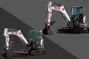 Infographic Highlighting Key Differences Between Bobcat E42 and E50 Compact Excavator Specs