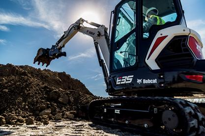 A Bobcat E35 Compact Excavator at work.