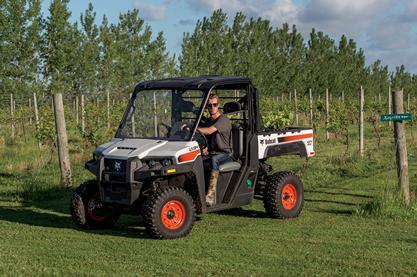 Farmer Drives A Bobcat UTV Through An Orchard