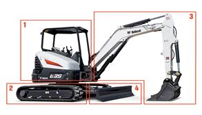 Bobcat E35 Compact Excavator On A White Background.