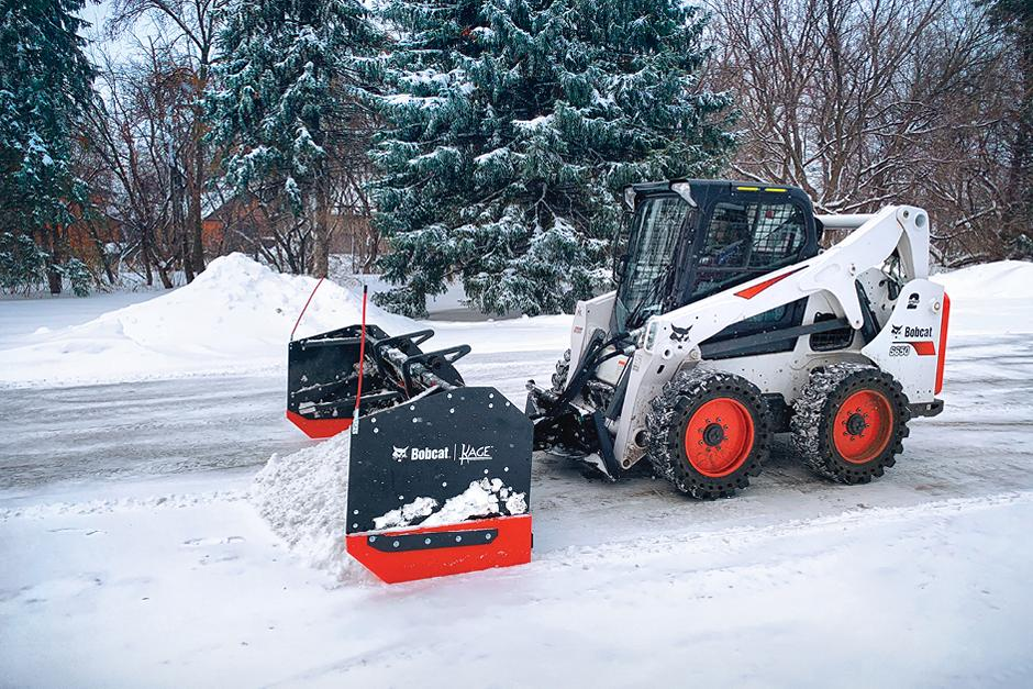 Bobcat Customer Clears Parking Lot With Snow Pusher Pro Attachment On Skid-Steer Loader
