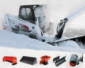 Bobcat S590 clearing snow
