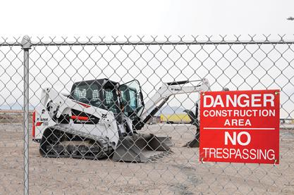 To minimize the risk of equipment loss from your jobsite it is important to post no trespassing signs and install chain-link fences.
