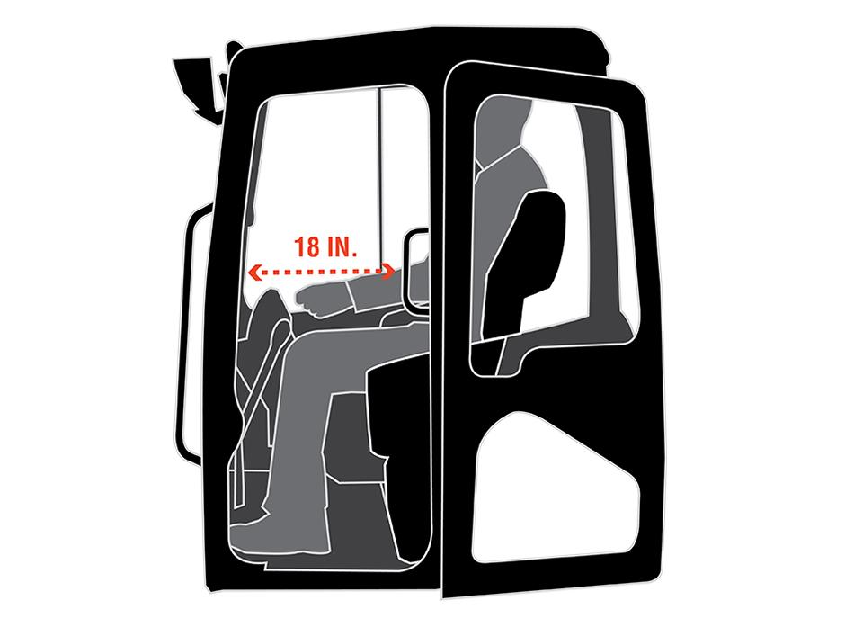 Illustration Of Kubota KX040-4 Mini Excavator Cab Interior Leg Room