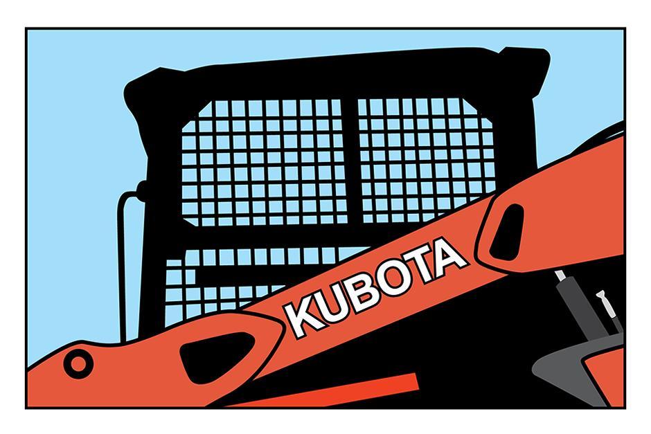 Illustration Of Kubota SVL75-2 Compact Track Loader Cab Visibility