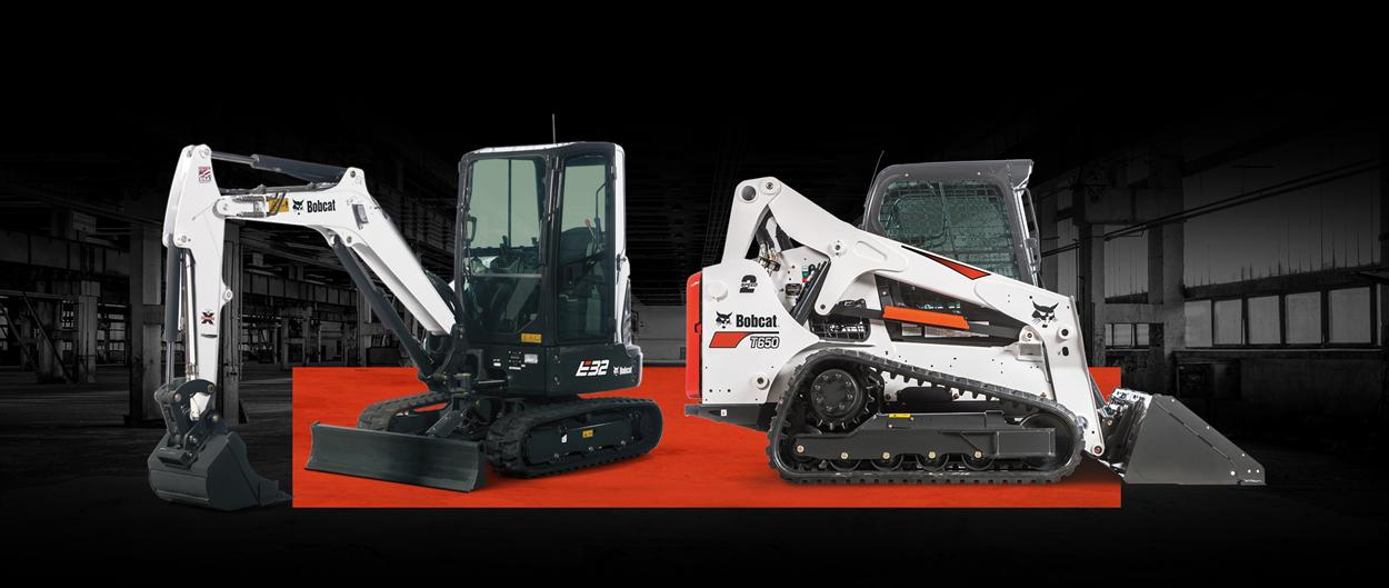 Bobcat T650 compact track loader and E32 compact excavator with a leasing offer promotion.