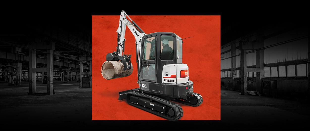 Bobcat E35i compact (mini) excavator in a special leasing promotion.