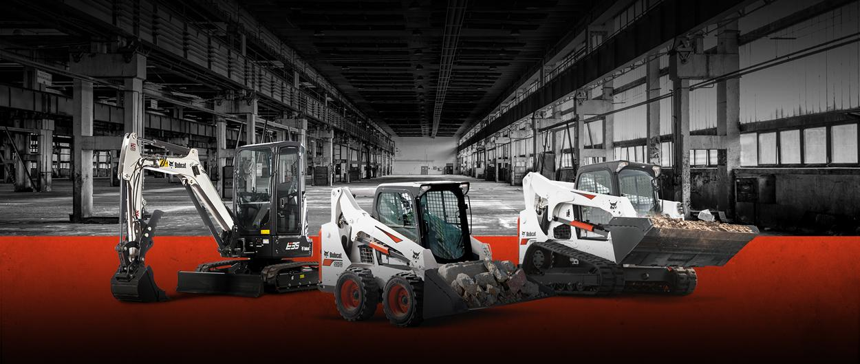 Bobcat E35 compact (mini) excavator, S570 skid-steer loader and T770 compact track loader in a leasing promotion.