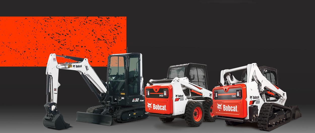 Bobcat E35 compact (mini) excavator, S450 skid-steer loader and T595 compact track loader in a leasing promotion.