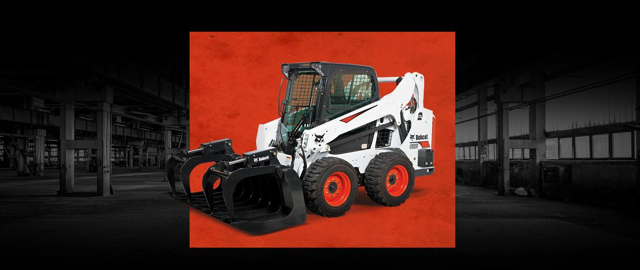 Bobcat S595 skid-steer loader with a leasing offer promotion.