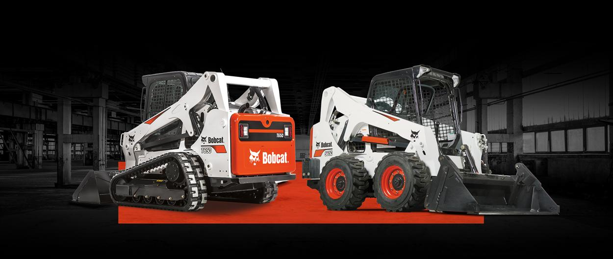 Bobcat T650 compact track loader and S650 skid-steer loader with a leasing offer promotion.