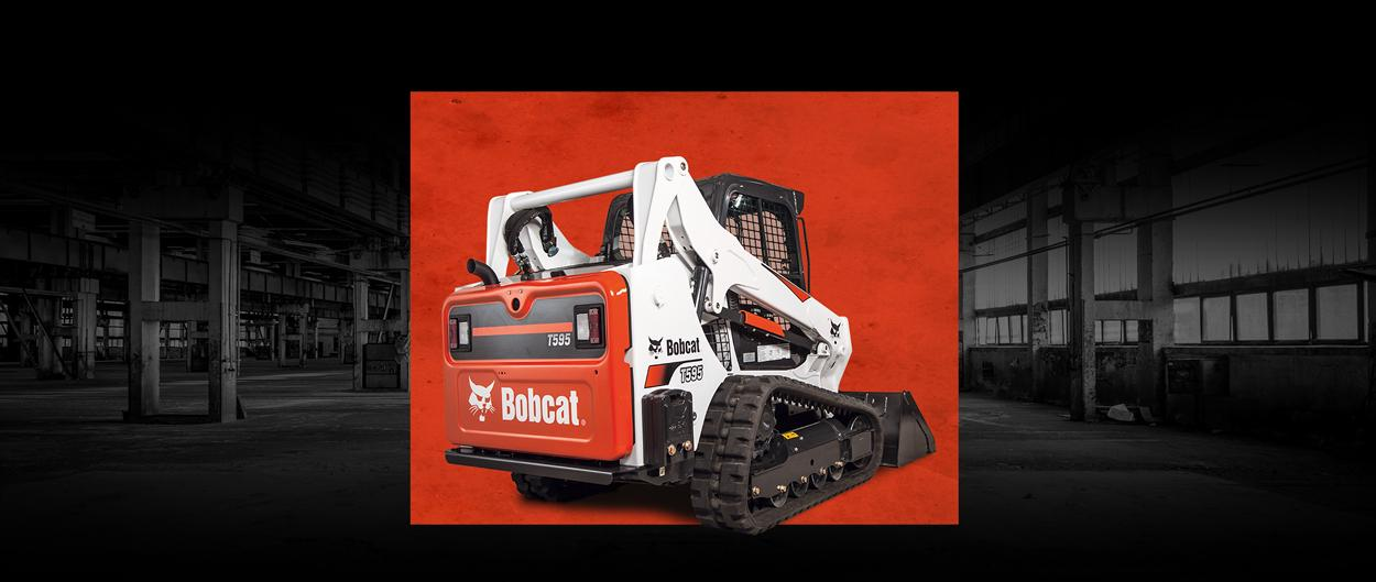 Bobcat T595 compact track loader with a leasing offer promotion.
