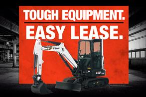 Bobcat E32 compact (mini) excavator in leasing promotion with Tough Equipment, Easy Lease.