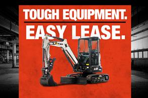 Bobcat E35 compact (mini) excavator in leasing promotion with Tough Equipment, Easy Lease.