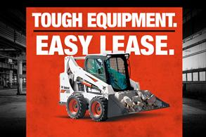 Bobcat skid-steer loader in leasing promotion with Tough Equipment, Easy Lease.