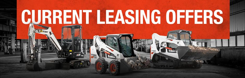 Bobcat E35 compact (mini) excavator, S570 skid-steer loader and T770 compact track loader with current leasing offers in text.