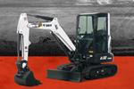 Bobcat E32 compact (mini) excavator and bucket attachment