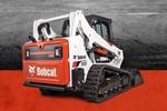 Bobcat T595 compact track loader and bucket attachment.