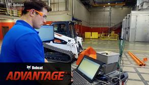Bobcat compact track loader having its hydraulic system tested.