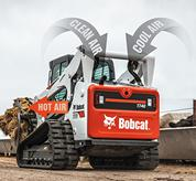 Bobcat T740 compact track loader with cooling system air movement graphics.