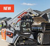 Bobcat Compact Track Loader Dumping Dirt With High Lift Capabilities