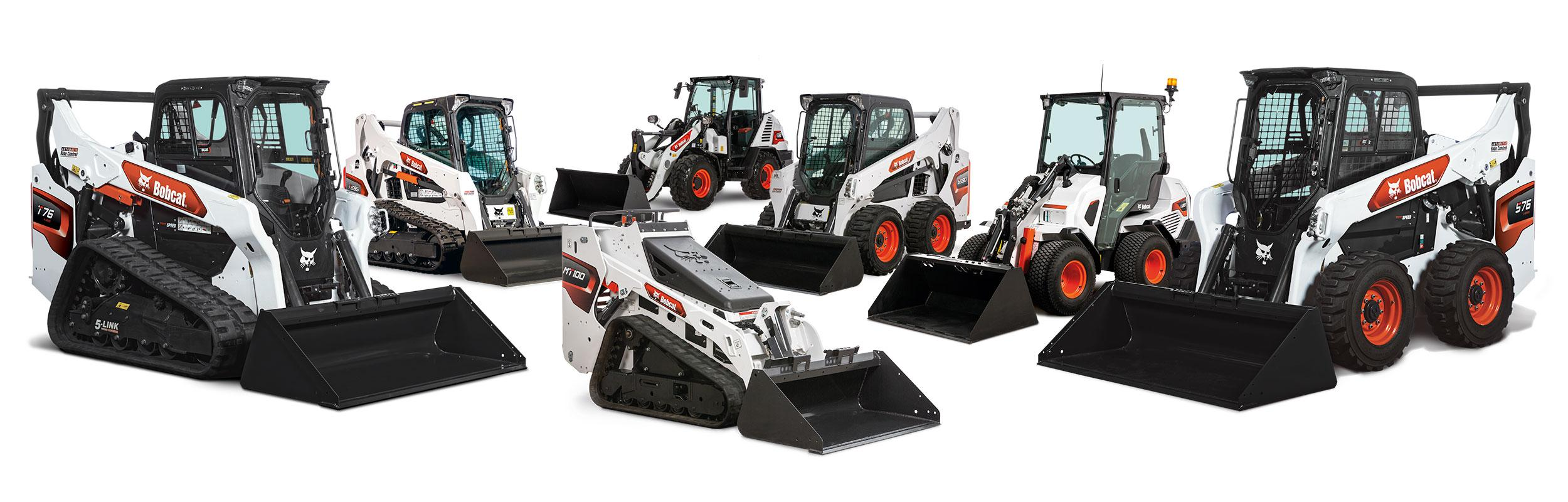 Studio Image Of The Bobcat Compact Track, Mini, Skid-Steer, Compact Wheel Loaders and Articulated Loaders