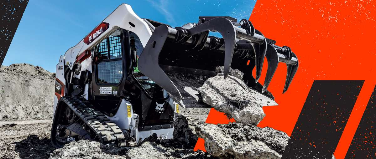 Graphic With Construction Worker Using Bobcat T62 Compact Track Loader With Industrial Grapple Attachment To Move Broken Concrete