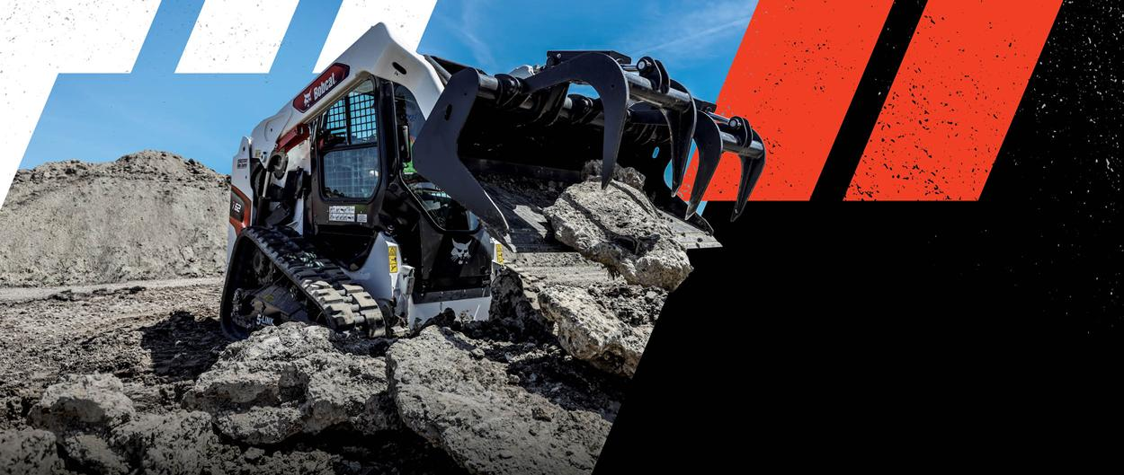 Graphic Of Bobcat Compact Track Loader With Grapple Attachment Moving Rock on Jobsite