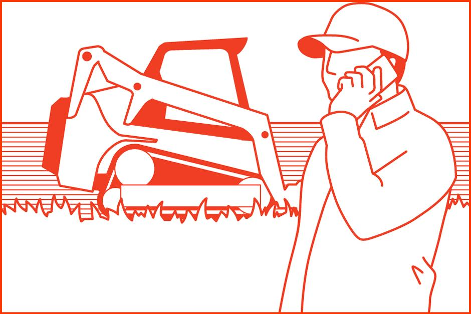 Illustration Of Bobcat Customer Calling Dealer To Enable More Features On Compact Track Loader