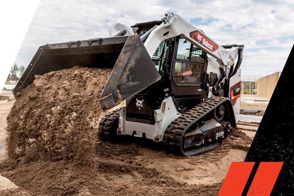 R-Series T64 Compact Track Loader With Bucket Dumping Dirt On Construction Site