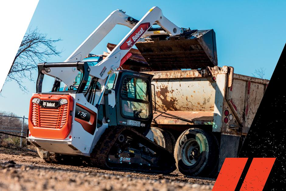 Bobcat T76 R-Series Compact Track Loader Dumping Material Into A High-Sided Truck