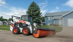 Bobcat Skid-Steer Loader With Angle Broom Loader Attachment
