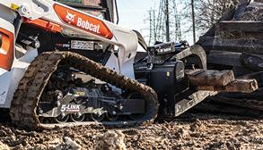 Bobcat Customer Using R-Series Compact Track Loader With Grapple Attachment To Move Material