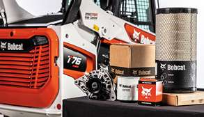 Genuine Bobcat Parts Next To R-Series Compact Track Loader