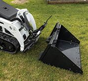 Close-Up Image Of MT55 Mini Track Loader Bucket Attachment With Bob-Tach Mounting System