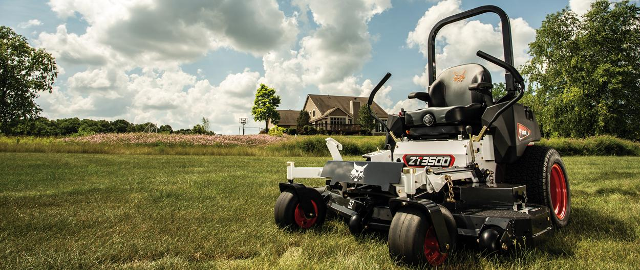 A Bobcat ZT3500 Zero-Turn Mower, Parked in Grassy Section of a Private Rural Acreage