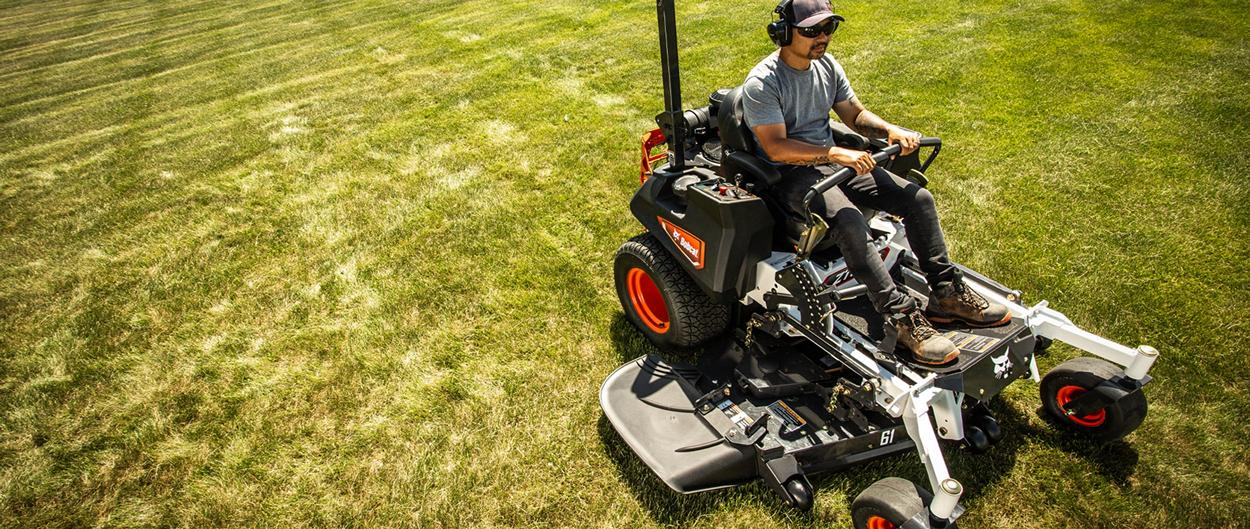 Bobcat Zero-Turn Mower ZT6100 In Action Mowing Large Commercial Lot