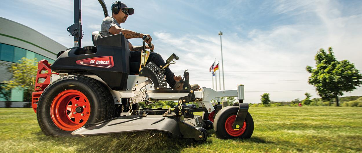 Front View Of Bobcat Zero-Turn Lawn Mower In Operation
