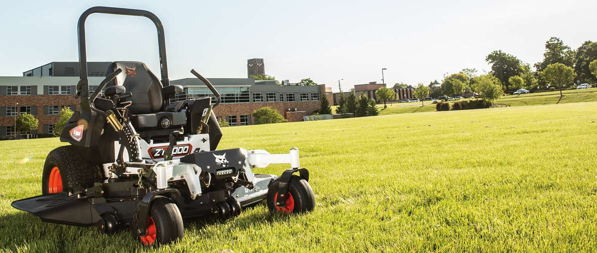 Bobcat Mower Parked On Freshly Cut Grounds