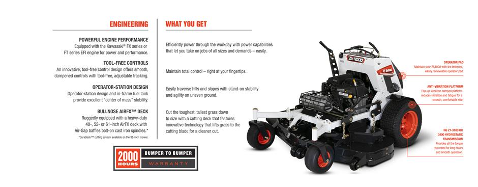 Bobcat ZS4000 Stand-On Zero-Turn Mower Feature Details