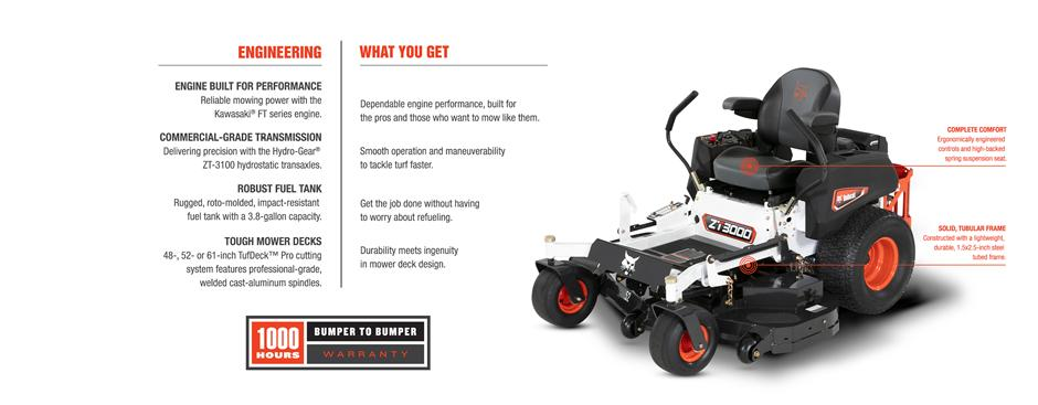 Bobcat ZT3000 Zero-Turn Mower Feature Details