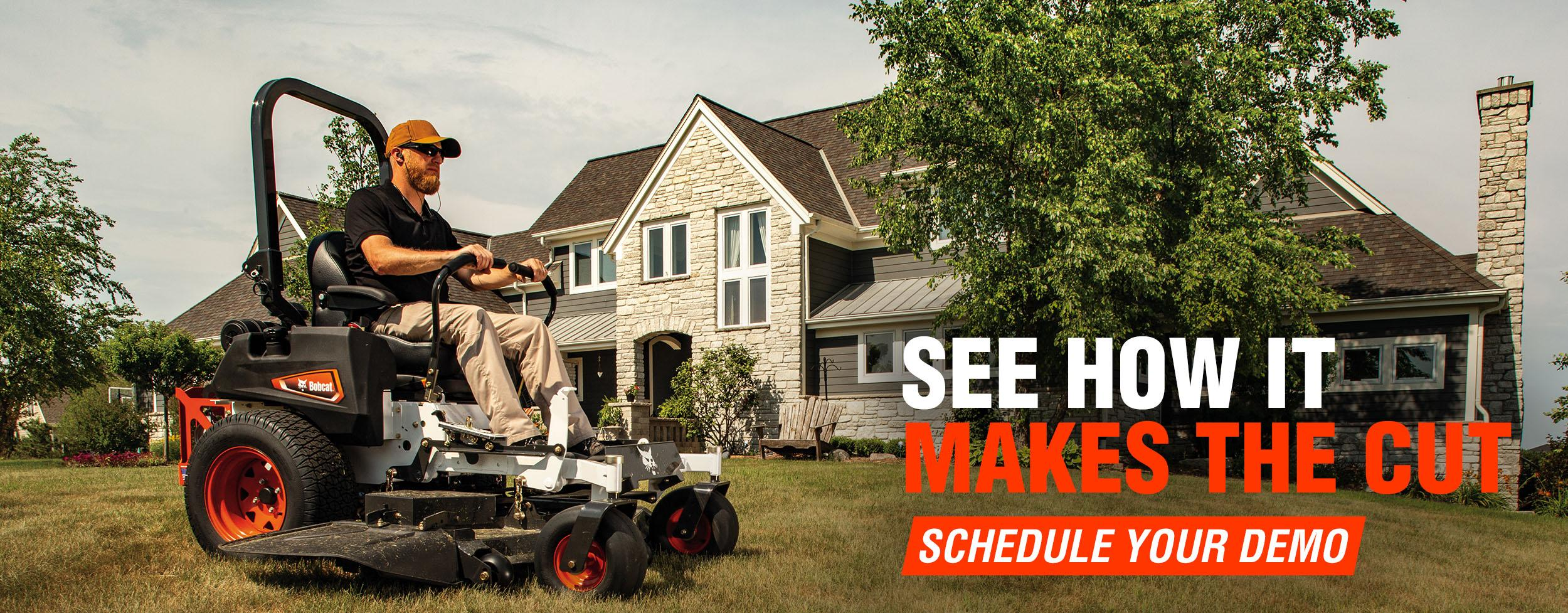 Demo Now Creative With Operator On A Bobcat Zero-Turn Mower Cutting Grass.
