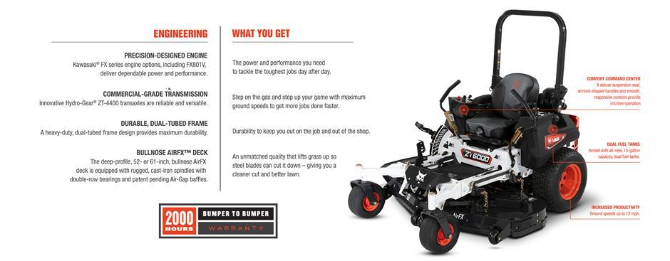 Bobcat ZT6000 Zero-Turn Mower Feature Details