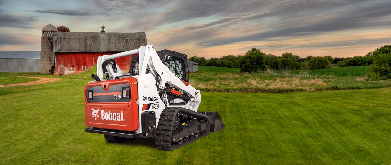 T650 compact track loader on a farm composite picture.