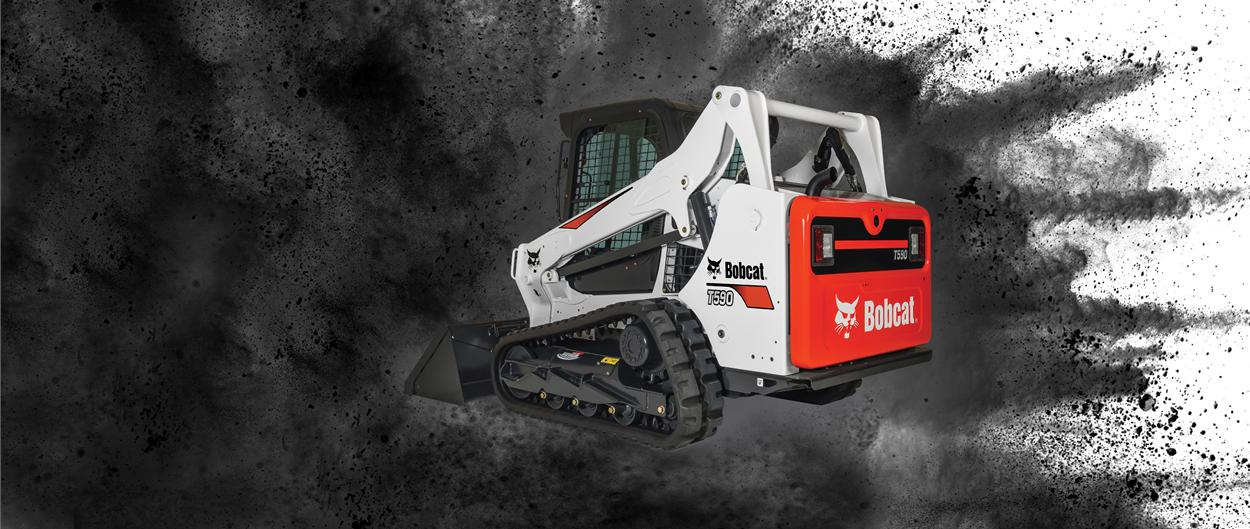 Bobcat T590 compact track loader with bucket attachment.