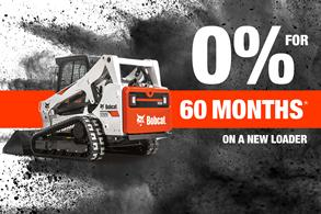 Bobcat T650 compact track loader with text 0% for 60 months on a new loader.