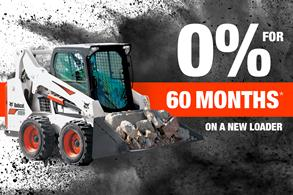 Bobcat S650 skid-steer loader with text 0% for 60 months on a new loader.