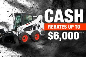 Bobcat S595 skid-steer loader with rebate offer.