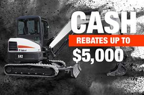 Bobcat E42 compact excavator with rebate offer.